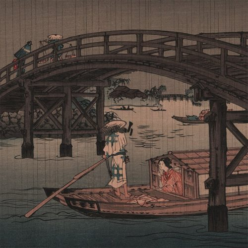 Keisai Eisen - River Boat in Rain (after Shoda Koho) (featured)