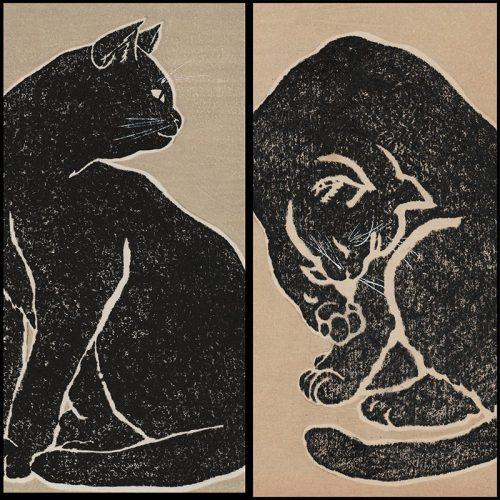 Sadanobu Hasegawa III - Black Cat (diptych) (featured)