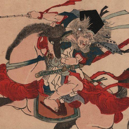 Yanagawa Shigenobu - Miura no Ōsuke (Warrior on Horse) (featured)