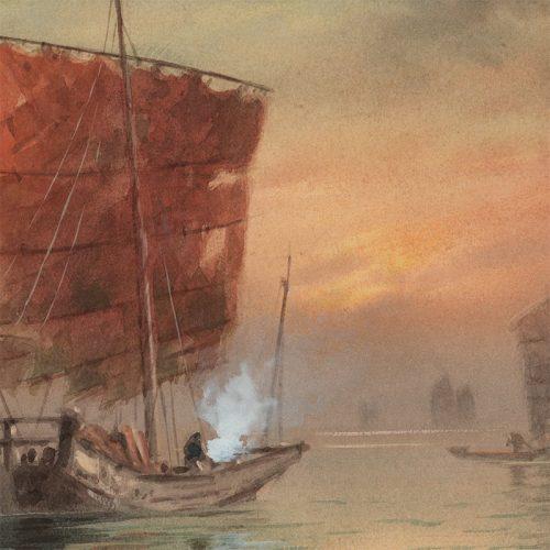 Fukutaro Terauchi - Fishing Vessels at Sunrise (watercolor) (featured)