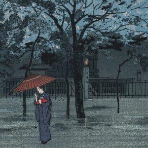 Shiro Kasamatsu - Rainy Evening at the Yasaka Pagoda (featured)