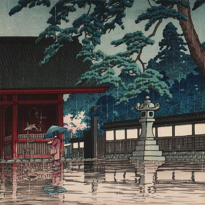 Kawase Hasui - Spring Rain at the Gokoku Temple (featured)