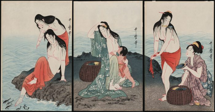 Kitagawa Utamaro - Awabi Tori (abalone divers) triptych