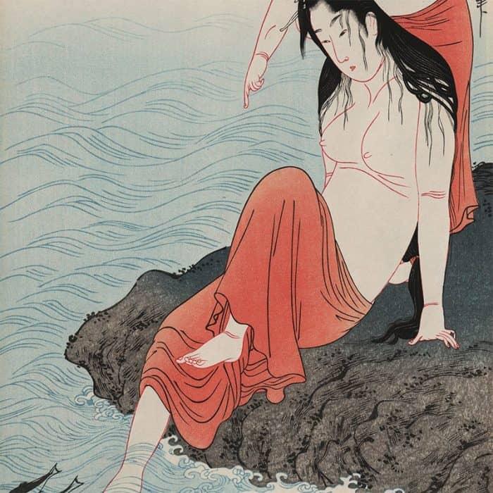 Kitagawa Utamaro - Awabi Tori (abalone divers) triptych (featured)