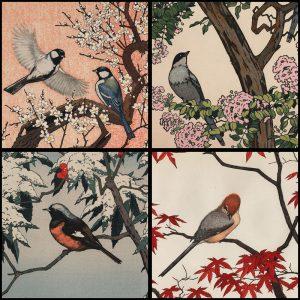 Toshi Yoshida - Birds of the Seasons (set of four)