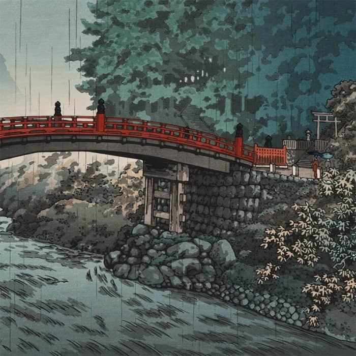 Tsuchiya Koitsu – Sacred Bridge of the Nikko Shrine on a Rainy Autumn Day (featured)