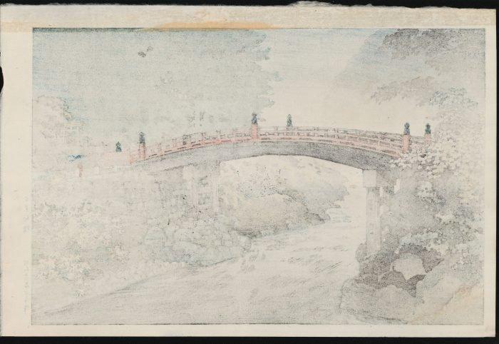 Tsuchiya Koitsu – Sacred Bridge of the Nikko Shrine on a Rainy Autumn Day (verso)